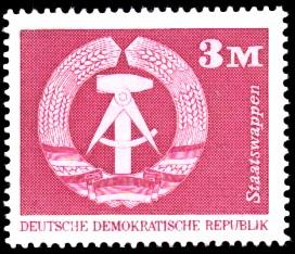 3 M Briefmarke: Sozialistischer Aufbau in der DDR, Staatswappen