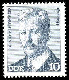 10 Pf Briefmarke: Rudolf Breitscheid, Verdienstvolle Persönlichkeiten der Arbeiterbewegung