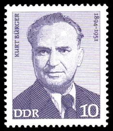 10 Pf Briefmarke: Kurt Bürger, Verdienstvolle Persönlichkeiten der Arbeiterbewegung