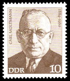 10 Pf Briefmarke: Carl Moltmann, Verdienstvolle Persönlichkeiten der Arbeiterbewegung