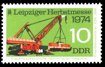 10 Pf Briefmarke: Leipziger Herbstmesse 1974, Eisenbahndrehkran EDK 2000
