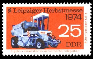 25 Pf Briefmarke: Leipziger Herbstmesse 1974, Rübenrodelader KS-6