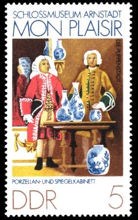5 Pf Briefmarke: Mon plaisir, Schloßmuseum Arnstadt, Porzellan- Spiegelkabinett