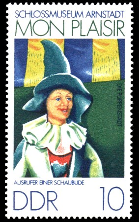 10 Pf Briefmarke: Mon plaisir, Schloßmuseum Arnstadt, Ausrufer