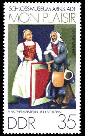 35 Pf Briefmarke: Mon plaisir, Schloßmuseum Arnstadt, Fleischerin u. Bettlerin