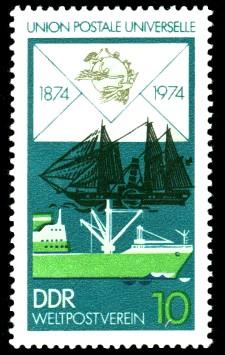 10 Pf Briefmarke: 100 Jahre Weltpostverein