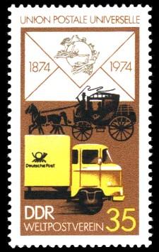 35 Pf Briefmarke: 100 Jahre Weltpostverein