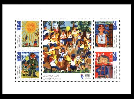 Briefmarke: Kleinbogen - Zeichnungen Junger Pioniere