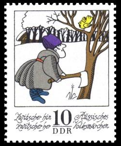 10 Pf Briefmarke: Wintermärchen - Zwitscher hin zwitscher her