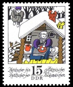 15 Pf Briefmarke: Wintermärchen - Zwitscher hin zwitscher her