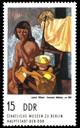 15 Pf Briefmarke: Gemälde aus Berliner Museen, Sinnendes Mädchen