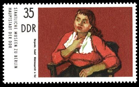 35 Pf Briefmarke: Gemälde aus Berliner Museen, Mädchenporträt in Rot