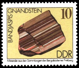 10 Pf Briefmarke: Bandjaspis, Minerale aus den Sammlungen der Bergakademie Freiberg