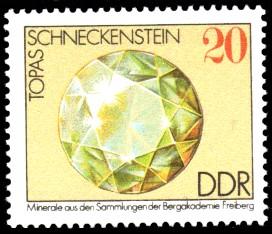 20 Pf Briefmarke: Topas, Minerale aus den Sammlungen der Bergakademie Freiberg