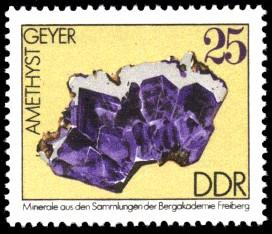 25 Pf Briefmarke: Amethyst, Minerale aus den Sammlungen der Bergakademie Freiberg
