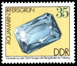 35 Pf Briefmarke: Aquamarin, Minerale aus den Sammlungen der Bergakademie Freiberg