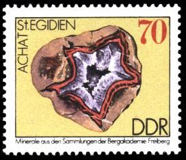 70 Pf Briefmarke: Achat, Minerale aus den Sammlungen der Bergakademie Freiberg