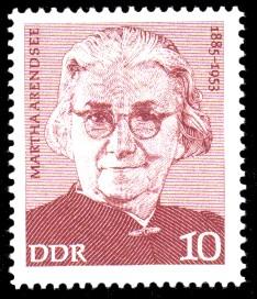 10 Pf Briefmarke: Martha Arendsee, Verdienstvolle Persönlichkeiten der Arbeiterbewegung