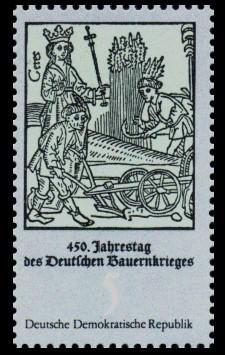 5 Pf Briefmarke: 450. Jahrestag des Deutschen Bauernkrieges