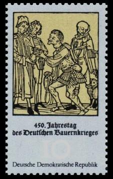 10 Pf Briefmarke: 450. Jahrestag des Deutschen Bauernkrieges