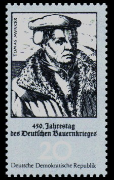 20 Pf Briefmarke: 450. Jahrestag des Deutschen Bauernkrieges