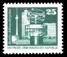 25 Pf Briefmarke: Sozialistischer Aufbau in der DDR, Alexanderplatz Bln