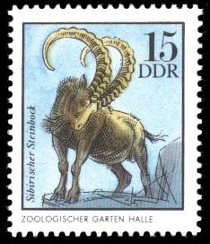15 Pf Briefmarke: Steinbock, Tiere aus den Tierparks und zoologischen Gärten der DDR