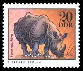 20 Pf Briefmarke: Panzernashorn, Tiere aus den Tierparks und zoologischen Gärten der DDR