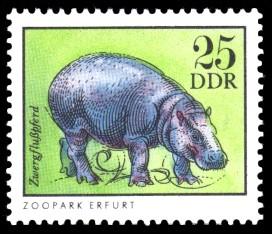 25 Pf Briefmarke: Zwergflußpferd, Tiere aus den Tierparks und zoologischen Gärten der DDR