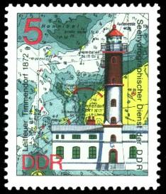 5 Pf Briefmarke: Leuchttürme der DDR, Leitfeuer Timmendorf