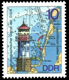 10 Pf Briefmarke: Leuchttürme der DDR, Leuchtfeuer Gellen