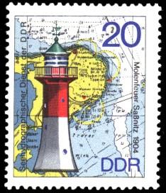 20 Pf Briefmarke: Leuchttürme der DDR, Molenfeuer Saßnitz