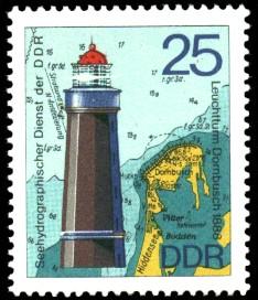 25 Pf Briefmarke: Leuchttürme der DDR, Leuchtturm Dornbusch