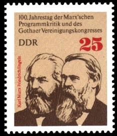 25 Pf Briefmarke: 100. Jahrestag der Marx'schen Programmkritik und des Gothaer Vereinigungskongresses