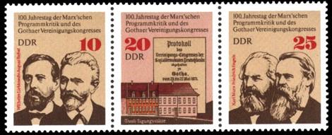 Briefmarke: Dreierstreifen - 100. Jahrestag der Marx'schen Programmkritik und des Gothaer Vereinigungskongresses