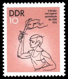 10 Pf Briefmarke: 5. Kinder- und Jugendspartakiade der DDR