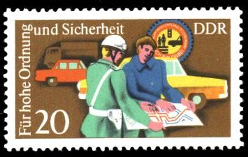 20 Pf Briefmarke: Für hohe Ordnung und Sicherheit im Straßenverkehr, Polizist
