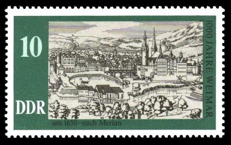 10 Pf Briefmarke: 1000 Jahre Weimar, Weimar um 1650