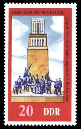 20 Pf Briefmarke: 1000 Jahre Weimar, Denkmal Buchenwald