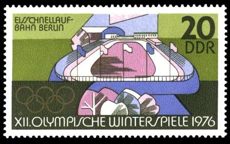 20 Pf Briefmarke: XII. Olympische Winterspiele, Eisschnellaufbahn