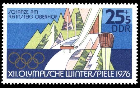 25 + 5 Pf Briefmarke: XII. Olympische Winterspiele, Ski-Schanze