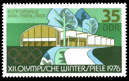 35 Pf Briefmarke: XII. Olympische Winterspiele, Eissporthalle