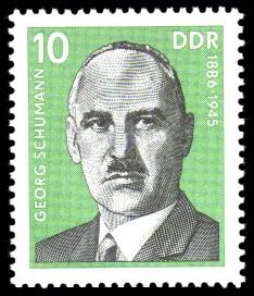 10 Pf Briefmarke: Verdienstvolle Persönlichkeiten der Arbeiterbewegung, Georg Schumann