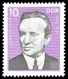10 Pf Briefmarke: Verdienstvolle Persönlichkeiten der Arbeiterbewegung, John Schehr