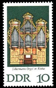 10 Pf Briefmarke: Silbermann-Orgeln (Rötha)