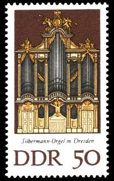 50 Pf Briefmarke: Silbermann-Orgeln (Dresden)