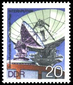 20 Pf Briefmarke: Bodenfunkstelle der DP Intersputnik