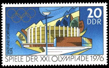 20 Pf Briefmarke: Spiele der XXI.Olympiade 1976, Stadt- und Sporthalle Suhl
