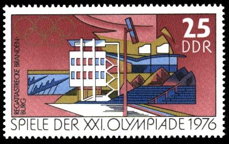 25 Pf Briefmarke: Spiele der XXI.Olympiade 1976, Regattastrecke Brandenburg