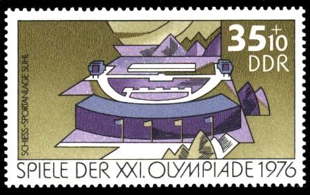 35 + 10 Pf Briefmarke: Spiele der XXI.Olympiade 1976, Schiess-Sportanlage Suhl